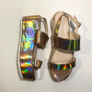 WILD DIVA HOLOGRAPHIC ROSE GOLD PLATFORM SANDALS